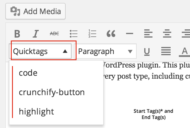 AddQuickTag - Editor Option