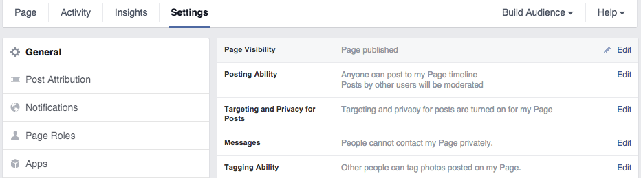 Facebook Page Setting - Crunchify Tips