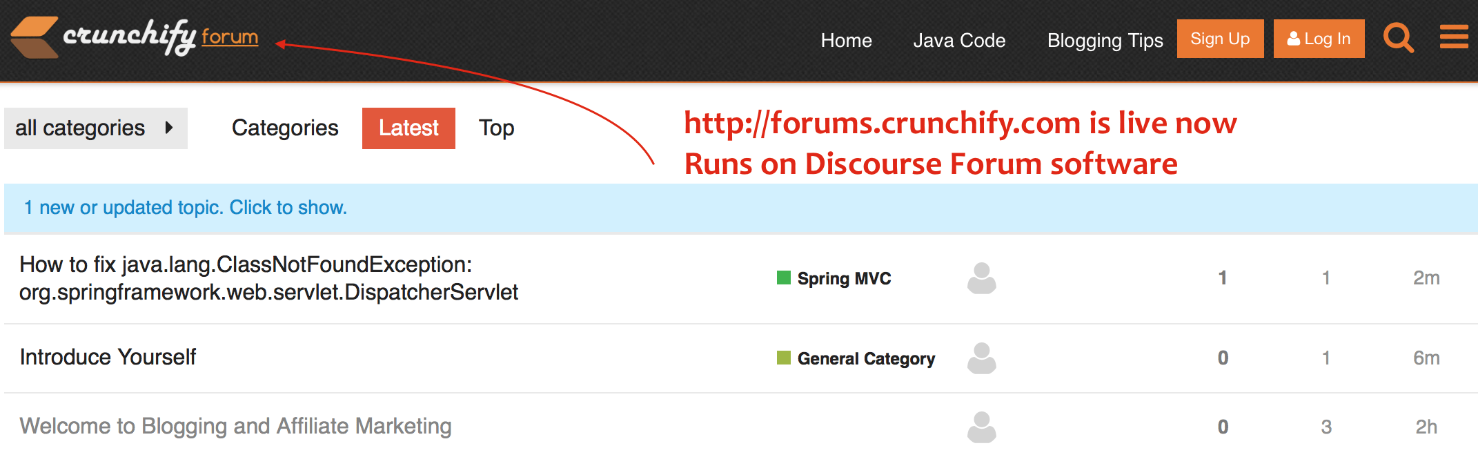 forums.crunchify.com is live - give help - get help