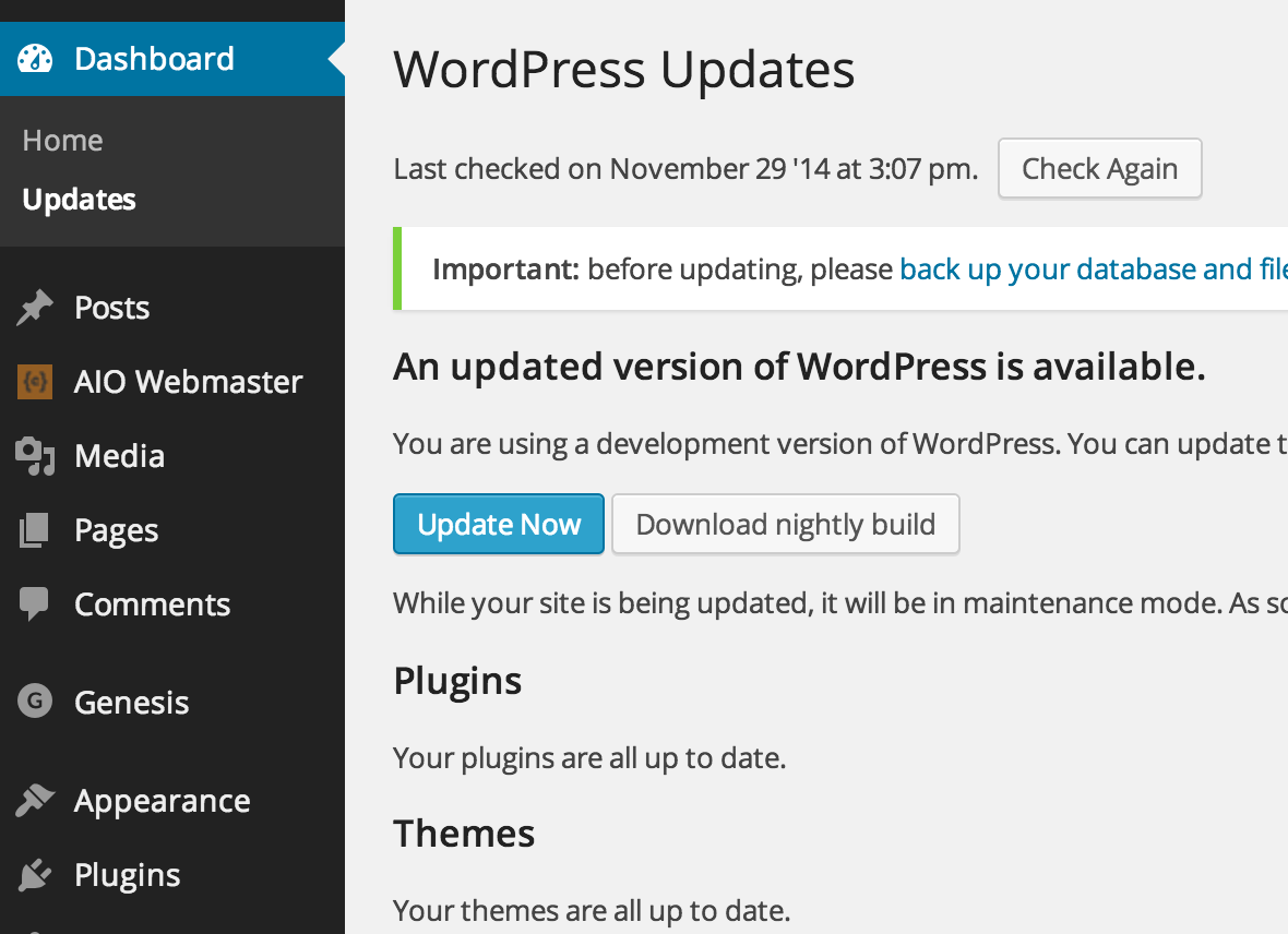 WordPress Update - Update Now Button