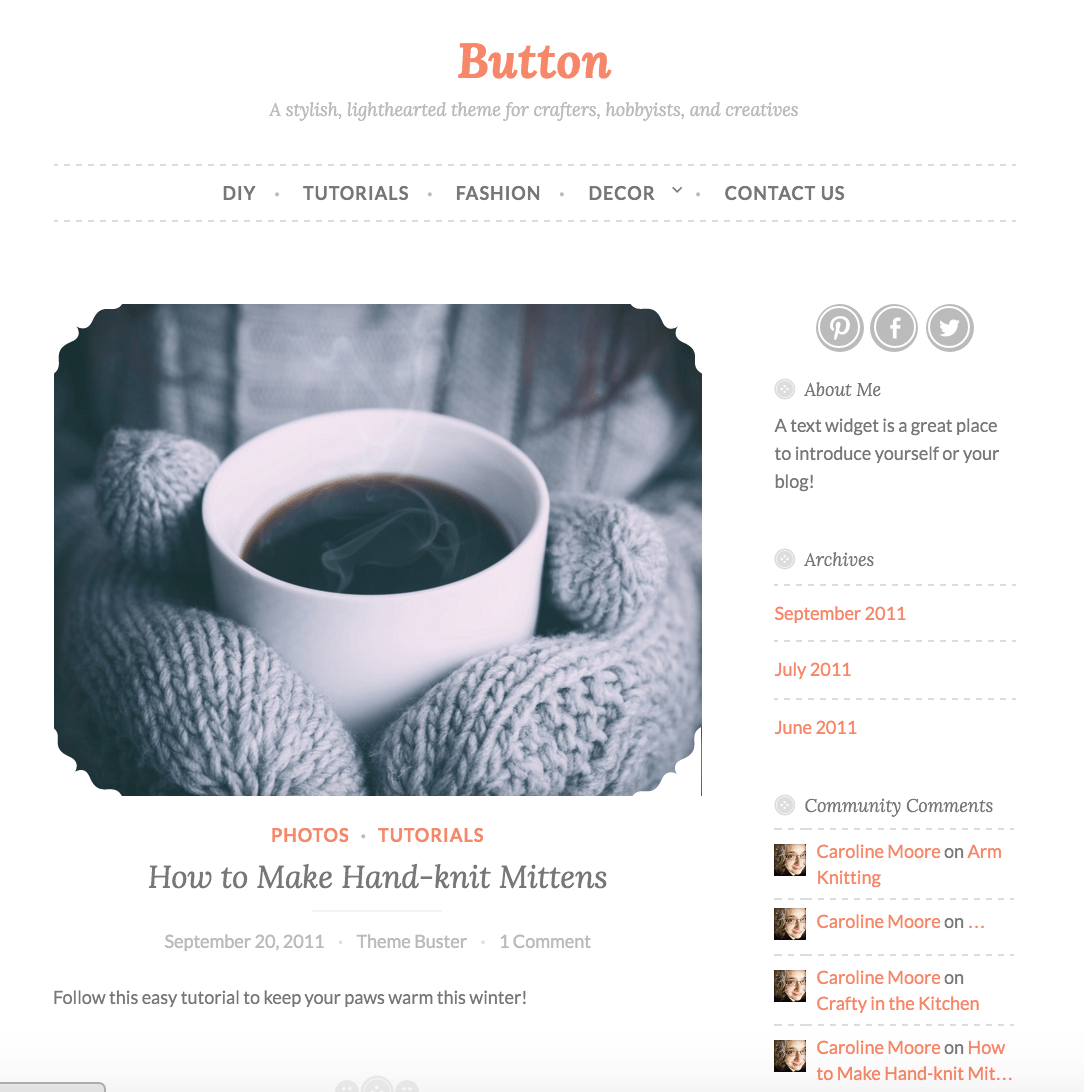 Button WordPress Free Theme - Crunchify
