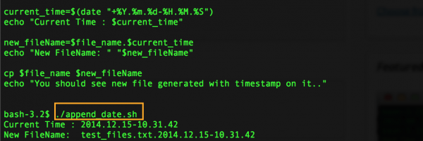 Shell Script: Append TimeStamp to file name