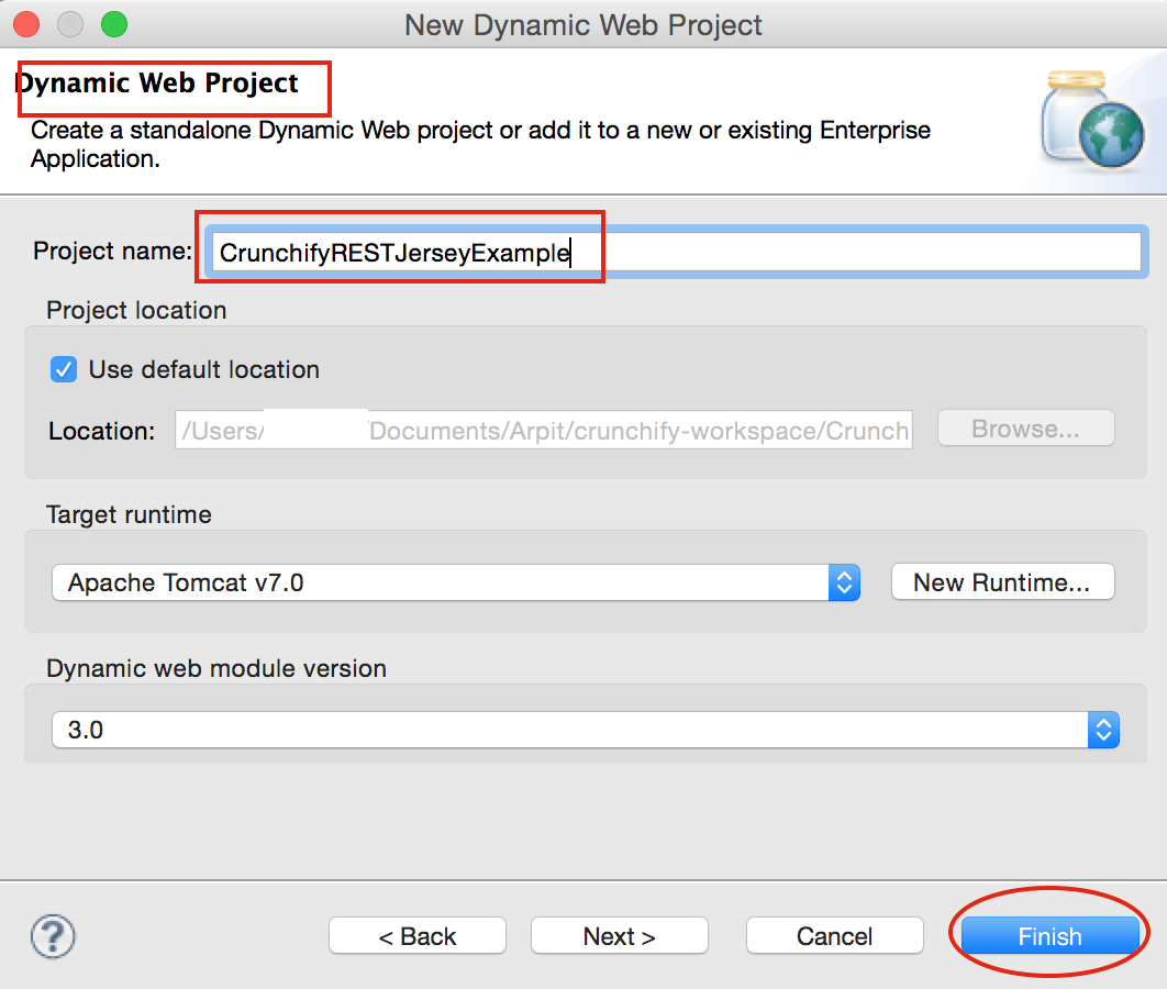Create Dynamic Web Project CrunchifyRESTJerseyExample in Eclipse