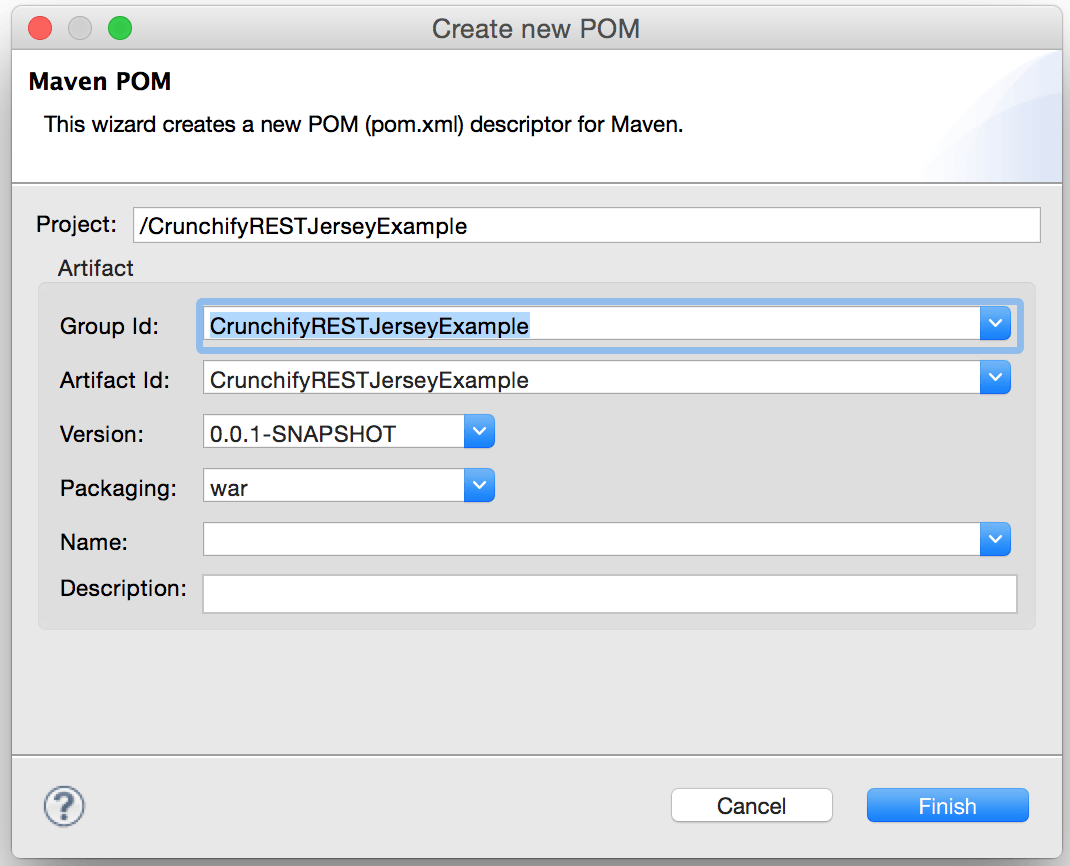 Create POM file for Maven Project in Eclipse
