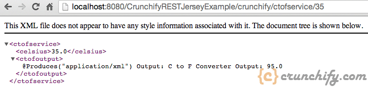 Crunchify Rest Service Example - CtoF with parameter