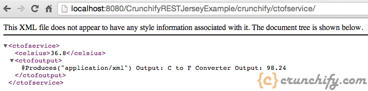 Crunchify Rest Service Example - CtoF without parameter