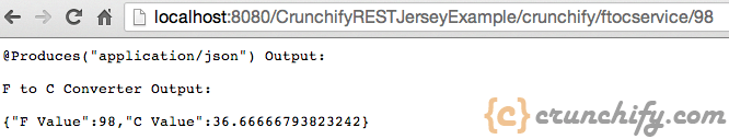 Crunchify Rest Service Example - FtoC with parameter