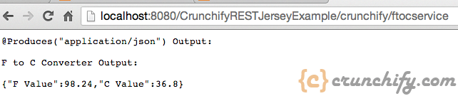 Crunchify Rest Service Example - FtoC without parameter