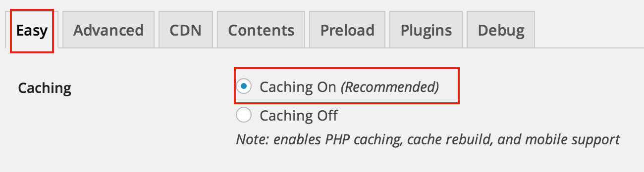 Enable WordPress Caching