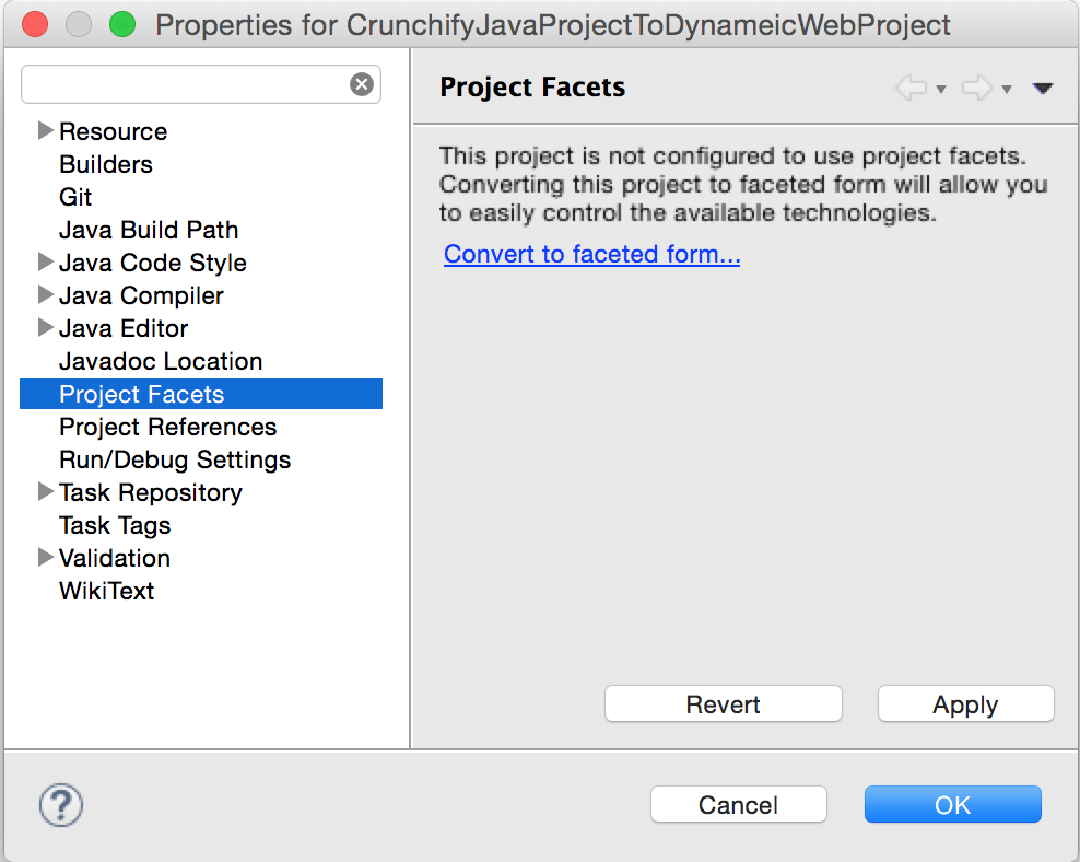 Properties - Click Project Facets
