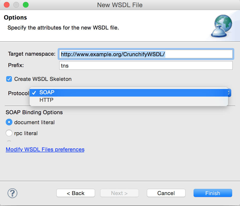 Specify Attributes for New WSDL file
