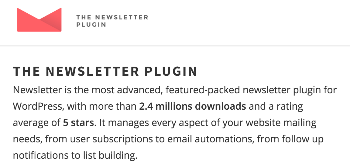 THE NEWSLETTER PLUGIN WordPress Plugin