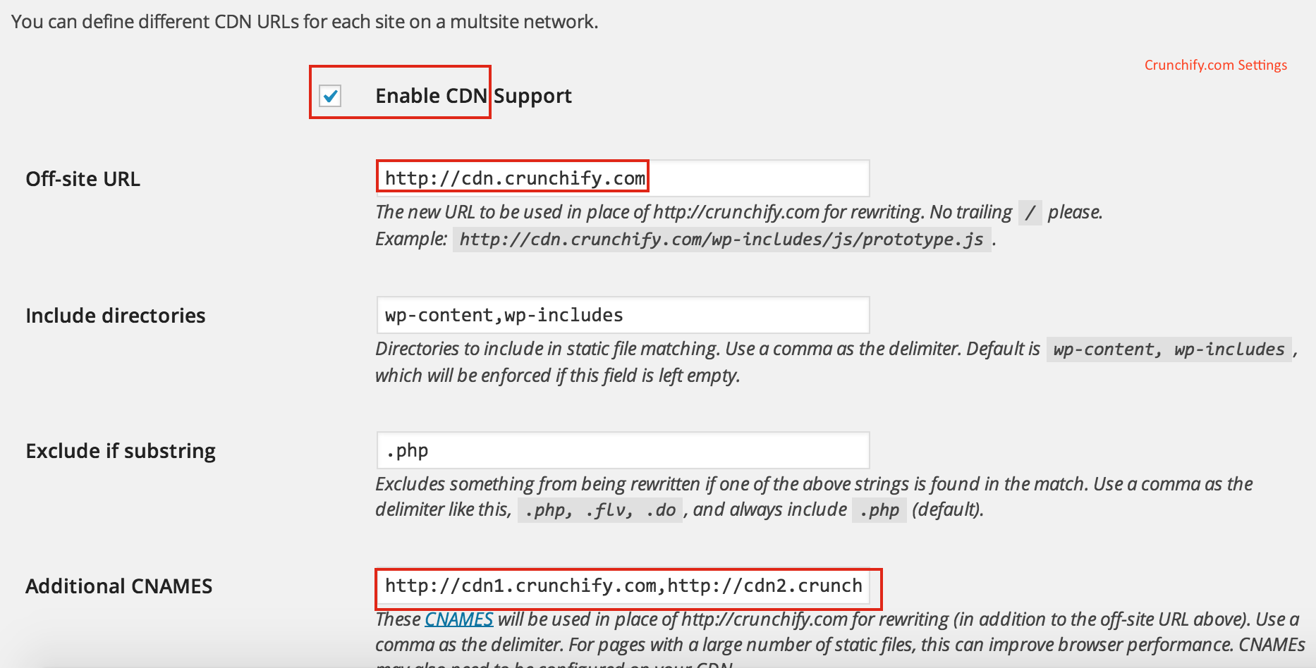 WP Super Cache - CDN settings - Crunchify Tips