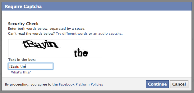 Facebook App Captcha - Crunchify