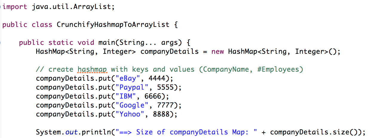 Hashmap to Arraylist in Java - Crunchify