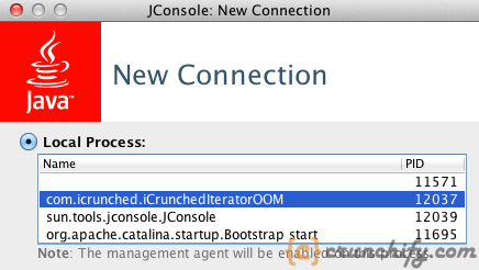 Java Iterator OOM - JConsole Output