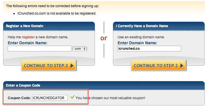 Crunchify HostGator Coupon - Step2