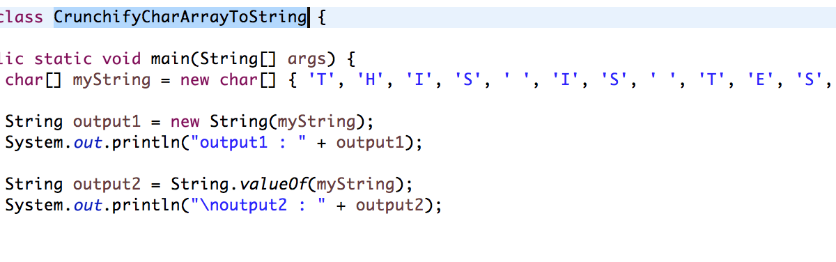 Java: Two ways to Convert Char Array to String
