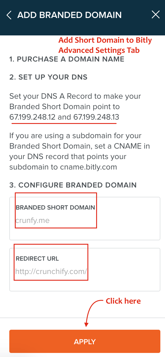Add Short Domain to Bitly Advanced Settings Tab