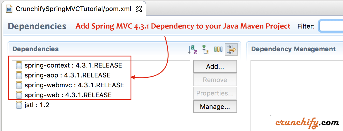 Add Spring MVC 4.3.1 Dependency to your Java Maven Project