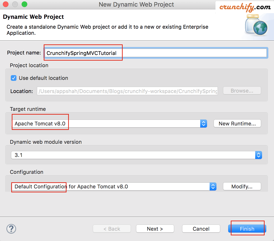 Create New Dynamic Web Project in Eclipse for Spring MVC tutorial by Crunchify