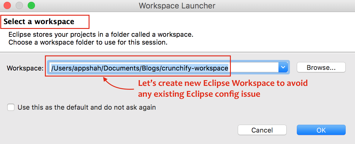 Create New Eclipse Workspace - Crunchify Tips
