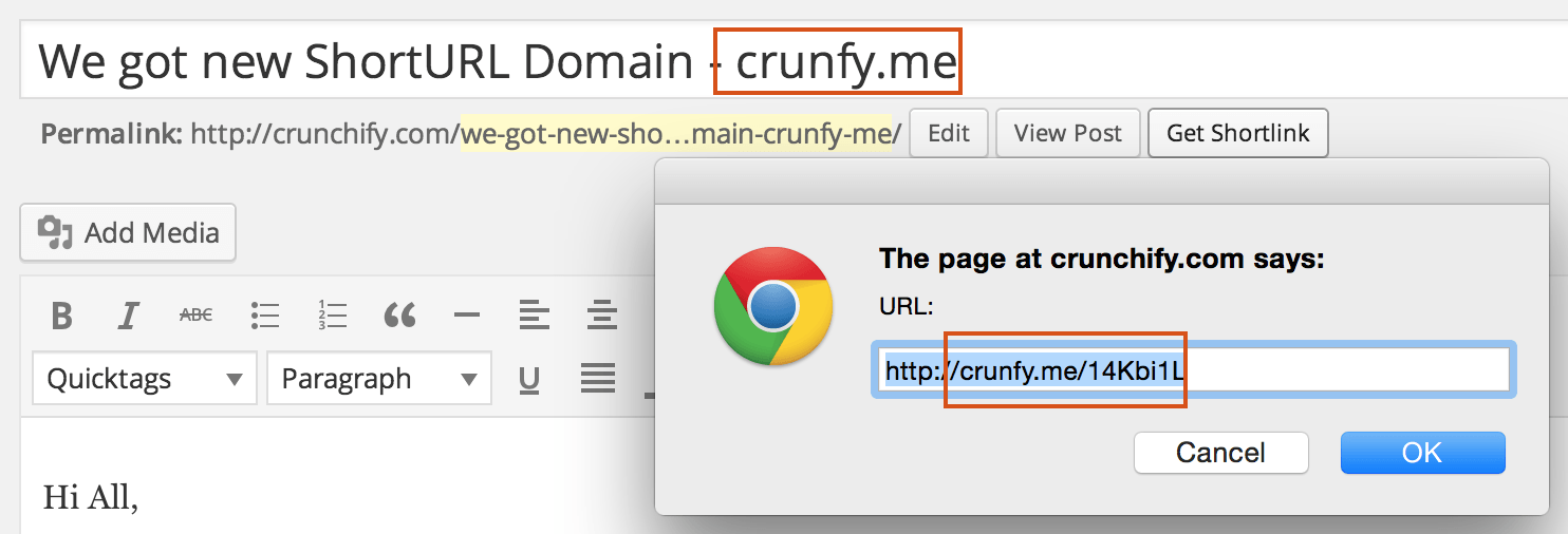 Crunchify.com short domain URL crunfy.me