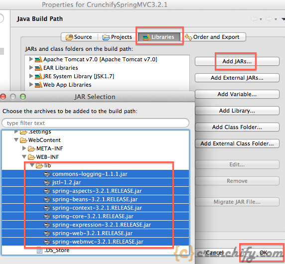 Eclipse Add Jars to Project Crunchify Tutorial Spring MVC Example/Tutorial: Hello World   Spring MVC 3.2.1