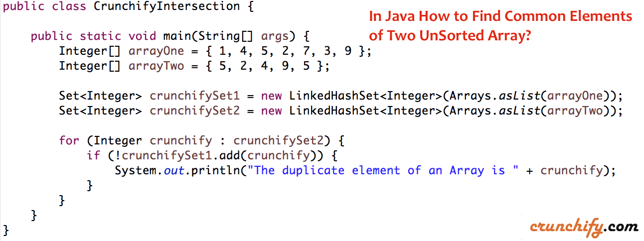 In Java How to Find Common Elements of Two UnSorted Array?