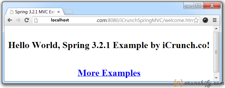 Spring MVC 3.2.1 Example - Demo Page - Crunchify