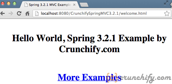 Spring MVC Hello World - welcome.jsp View Result