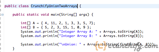 Java: Union of Two Arrays using Primitive Data Types. Don't Use Java Collection