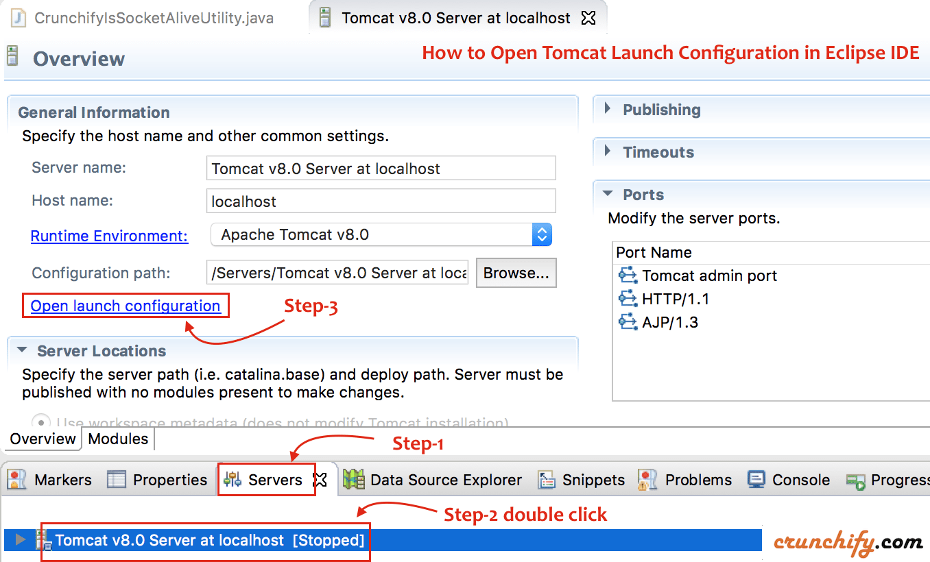 Open Tomcat Launch Configuration in Eclipse IDE - Crunchify Tips