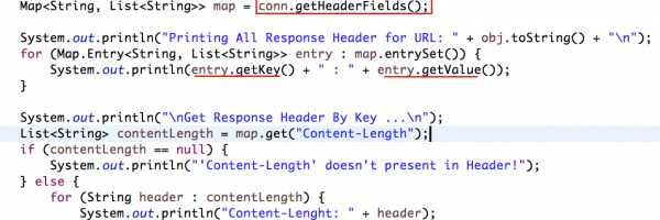 Simple Way to Get HTTP Response Header in Java