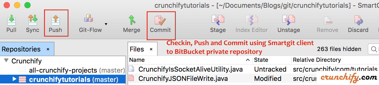 Checkin, Push and Commit using Smartgit client to BitBucket private repository