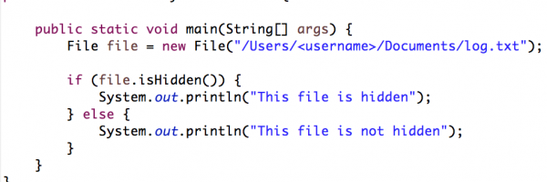 Java: How To Check If A File Is Hidden?