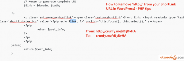 How to Remove 'http://' from your ShortLink URL in PHP?