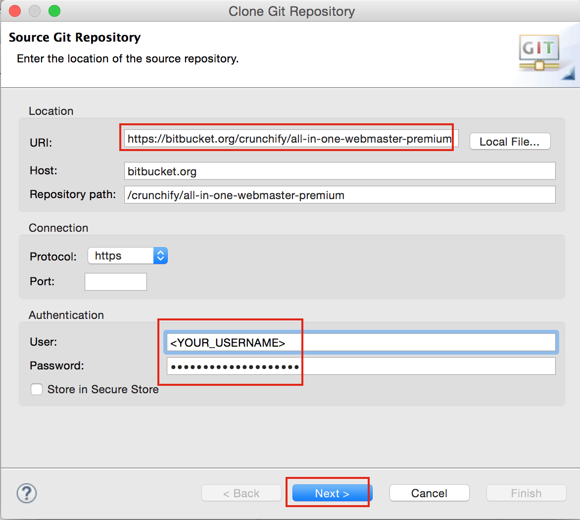 Clone Repository Options Page in Eclipse