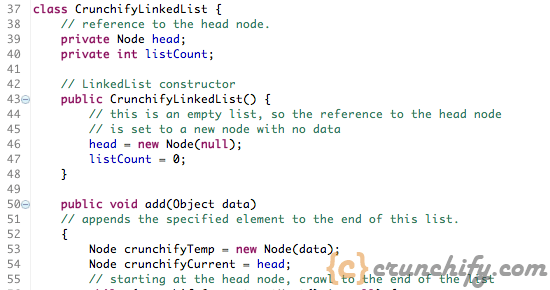 Crunchify - Linked List example