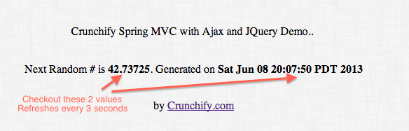 Crunchify Spring MVC and AJAX Jquery Example Result