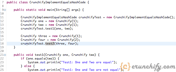 Java override equals and hashcode - Crunchify Example