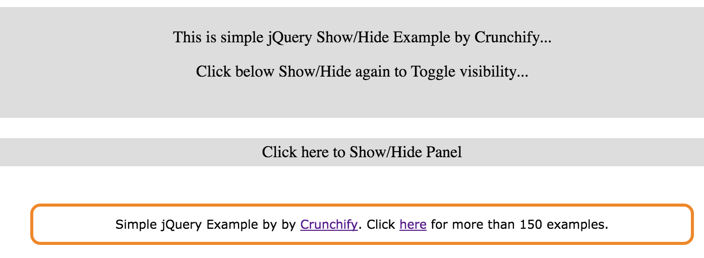 Simple jQuery Show:Hide Example by Crunchify