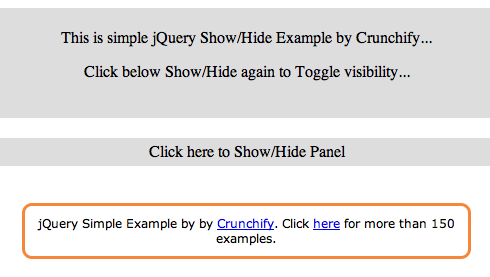 jQuery Show.Hide Panel Example by Crunchify.com