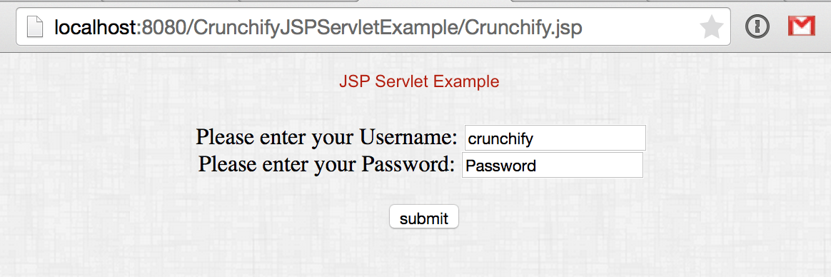 JSP Servlet Example by Crunchify