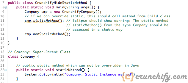Java Method Hiding and Overriding