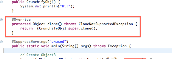 How to avoid Exception in thread main – java.lang.CloneNotSupportedException