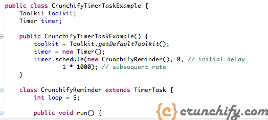 Crunchify Timer and TimerTask Example