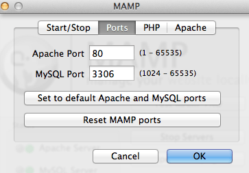 MAMP - Apache and MySQL Port