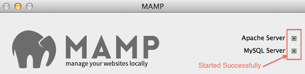 MAMP - mySQL and Apache Started Successfully