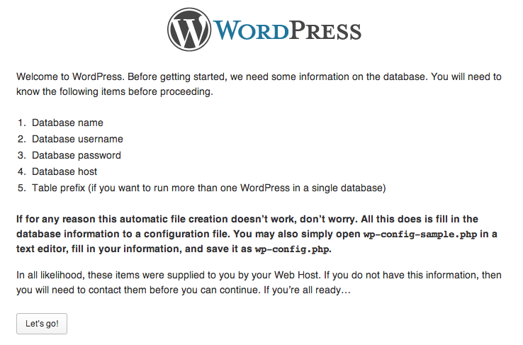 Step 2 - Welcome Screen - WordPress Installtion
